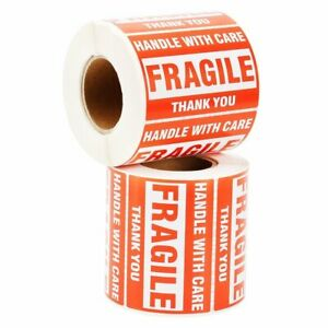 2 20 Rolls 2 X 3 Fragile Sticker Handle With Care Thank You Labels Free Shipping