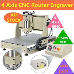 4 Axis Usb Cnc Router Engraver Engraving Cutter 6040t Artwork Printing Drilling
