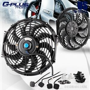 12 Inch Slim Fan Push Pull Electric Radiator Cooling Mount Kit Black Universal