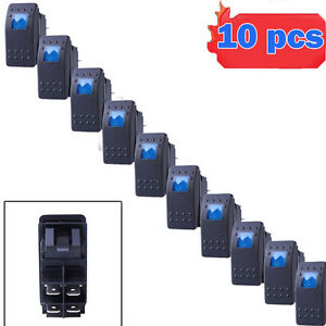 10pcs Waterproof Marine Boat Car Rocker Switch 12v Spst On off 4pin 4p Blue Led