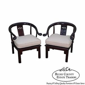Vintage Chinese Rosewood Pair Of Horseshoe Lounge Chairs