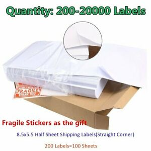 200 20000 Premium 8 5x5 5 Shipping Labels Half Sheet Self Adhesive For Ups Fedex