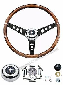 65 66 67 68 69 70 71 Mustang Walnut Black Circle Spoke Steering Wheel 13 5 Kit
