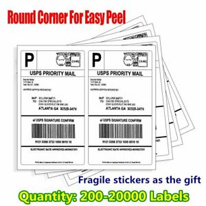 200 20000 8 5x5 5 Shipping Labels Round Corner Half Sheet Self Adhesive Ups Ebay