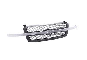 Dark Gray Grille W chrome Molding Strip Fit 03 06 Avalanche 1500 2500 Gm1200489