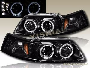 99 04 Ford Mustang Solid Black Housing Dual Halo Led Projector Headlights G2