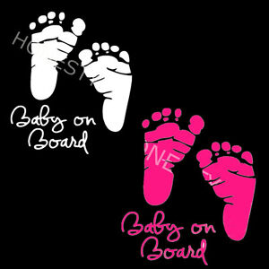 Cute Baby On Board Foot Sticker Vinyl Decal Car Latop Window Wall Bumper Decor