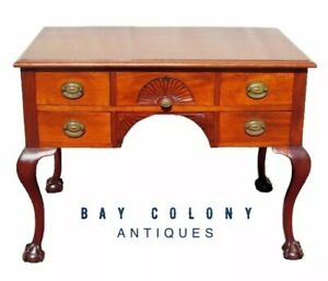 19th C Ball Claw Chippendale Styled Mahogany Antique Desk With Shell Carvings