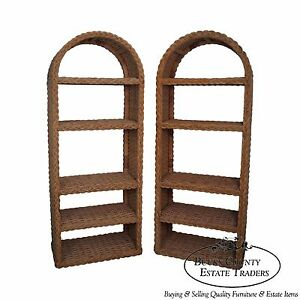 Quality Pair Of Arch Top Wicker Rattan Etageres Bookcases