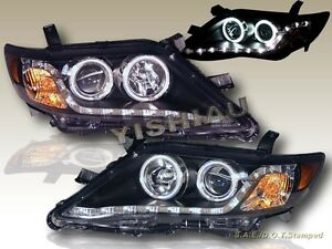 10 11 Toyota Camry Projector Headlights Black Ccfl Two Halo W Led Strip