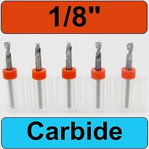 1 8 Solid Carbide Drill Bits Five Pieces Cnc Fr4 Mdf Wood Hobby Craft R s