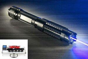 Powerful 445nm Focus Visible Blue Beam Laser Pointer Pen Box Burn Adjustable