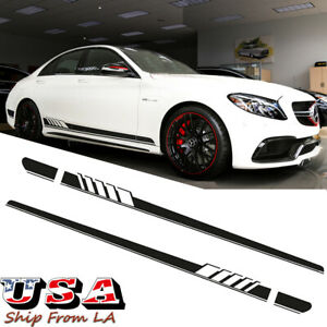 Black Side Skirt Racing Stripes Vinyl Decal Sticker For Mercedes A C Cla E S Cls