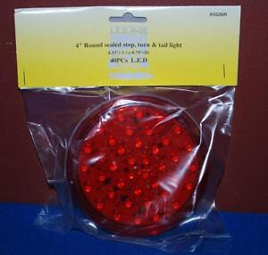 Set Of 2 Red Sealed 4 Inch Round Sealed Stop Turn Tail Lights 40 Led Tl