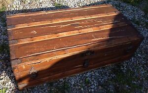 Antique Crouch Fitzgerald New York Wooden Canvas Trunk Chest 1800 S Rare