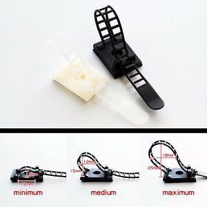 Adjustable Adhesive Cable Clamp Clips Wire Cord Holder Management Organizer Ties