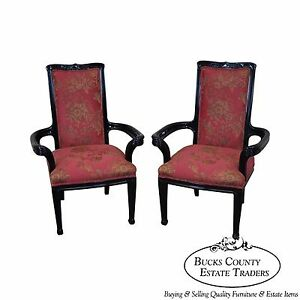 Ebonized Pair Of Art Nouveau Influenced Arm Chairs By Interior Crafts