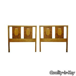 Pair Of Vintage Walnut Mid Century American Modern Single Twin Bed Headboards