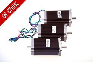 Us Free Ship 3pcs Nema23 Stepper Motor Dual Shaft 425oz in 3a 115mm 1 8 Longs