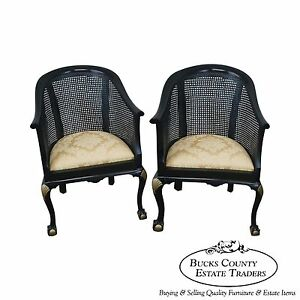 Vintage Pair Of Black Gold Painted Barrel Back Chairs