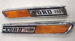 68 69 70 71 72 1968 1969 1970 1971 1972 Ford Truck Hood Chrome F250 Emblem Pair