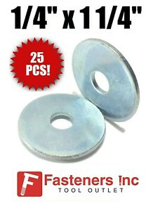 qty 25 1 4 X 1 1 4 Od Extra Thick 125 Zinc Plated Heavy Fender Washers