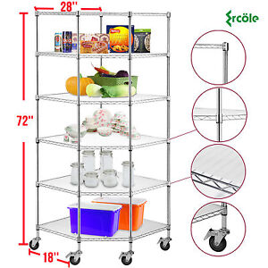 6 tier Chrome Wire Shelving Rack Corner Unit Storage Adjustable Steel Shelf