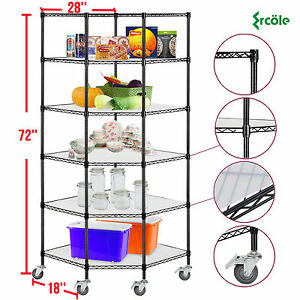 6 tier Heavy Duty Wire Shelving Rack Corner Unit Storage Adjustable Steel Shelf