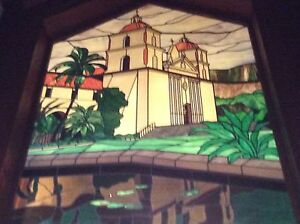 Vintage Iconic Chuck Franklin Stained Glass Art California Santa Barbara Mission