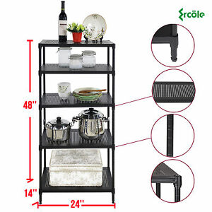 5 Tier Heavy Duty Wire Shelving Rack Unit Steel Shelf Storage Adjustable Black