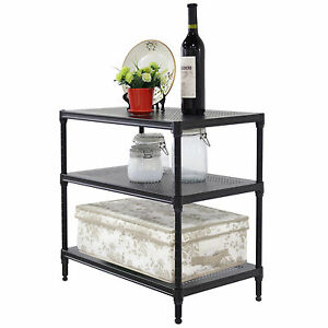 3 Tier Heavy Duty Wire Shelving Rack Unit Steel Shelf Storage Adjustable Black