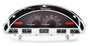 1956 Ford F100 Truck Pickup Dakota Digital Carbon Fiber Red Vhx Gauge Kit