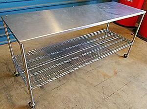 Nexel Stainless Steel Prep Table Shelf On Wheels 6ftw X 24 d X 35h Kitchen Resta