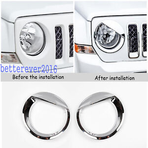 Angry Bird Style Chrome Front Headlight Cover Trim For Jeep Patriot 2011 2017
