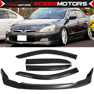 Fit 03 05 Honda Accord 4dr Hfp Type Urethane Front Bumper Lip Sun Window Visor
