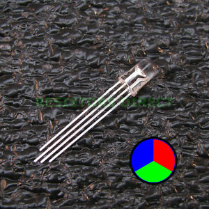100pcs Rgb Led Water Clear Lens 5mm Common Cathode 4 pin Red Green Blue 100x V34