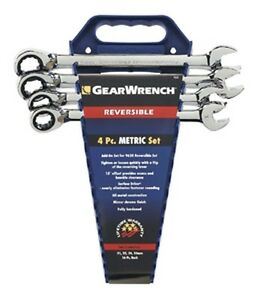 Gearwrench 9601 4 Piece Reversible Ratcheting Wrench Completer Set Metric