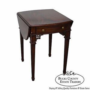 Maitland Smith Flame Mahogany Chippendale Style Pembroke Table