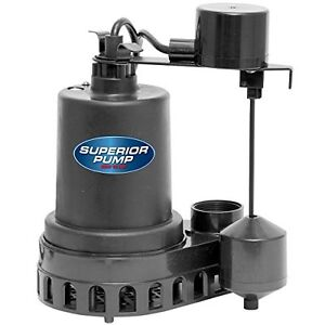 Superior Pump 92572 Thermoplastic Sump Pump With Vertical Float Switc 1 2 Hp