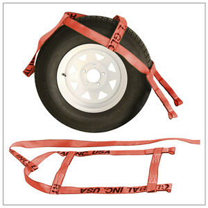 Two 2x Red Demco Kar Kaddy Tow Dolly Straps Rugged Weave Axle W Loops