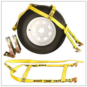 Two 2x Yellow Demco Kar Kaddy Tow Dolly Straps Rugged Weave W Hook