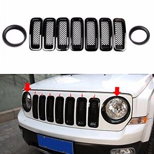 9pcs Front Grille Mesh Trim Head Light Cover Trim Black For 2011 17 Jeep Patriot