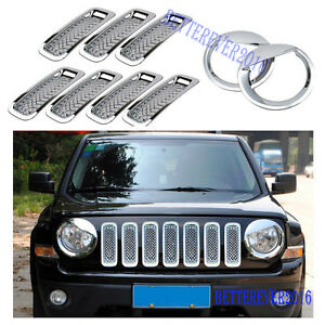 Chrome Front Grill Mesh Trim angry Bird Headlight Cover For Jeep Patriot 2011 17
