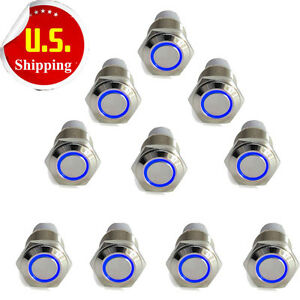 10pcs 16mm 12v Car Blue Latching Led Angel Light On off Push Metal Button Switch
