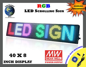 40 x8 Semi Outdoor Wifi App Led Scrolling Programmable Sign Rgb Display
