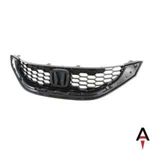 Black Upper Grille Grill W Honeycomb Insert For 2013 2015 Honda Civic 9th Gen