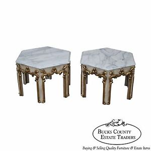 Quality Pair Of Hollywood Regency Partial Gilt Hexagon Marble Top Side Tables