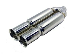 Obx Universal Stainless Steel Dual Bazooka Style Muffler W Flared Tips