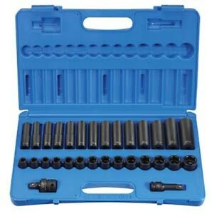 Grey Pneumatic 1430mrd 1 2 Dr 6 Pt Shallow Deep Metric Impact Socket Set