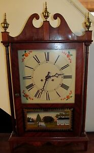 20th C Federal Antique Styled Mahogany Reverse Painted Shelf Clock Emery